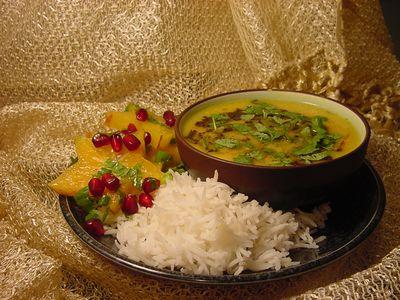 Lentil soup and star fruit salad